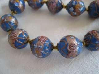 VENETIAN WEDDING CAKE BEADS BLUE GROUND PINK FLOWERS GOLD RIBBON TRIM