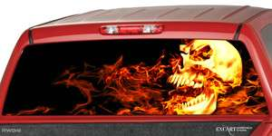Burning Rear Window Graphic Decal Truck SUV Cap Camper Shell Chevy