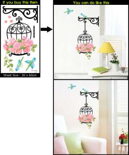 Flower Cage Decor Mural Art Wall Paper Sticker SWST 022