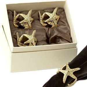 LObjet Gold Starfish Napkin Rings S/4