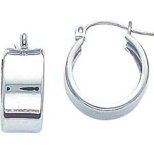 White gold Hoop Earrings Polished Ear Jewelry C Jewelry